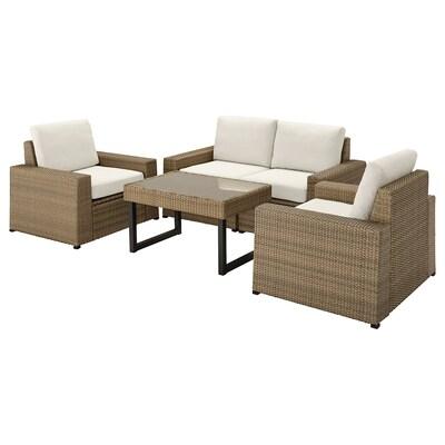 SOLLERÖN 4-seat conversation set, outdoor, brown/Frösön/Duvholmen beige