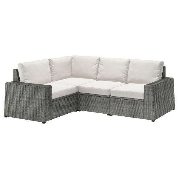 SOLLERÖN modular corner sofa 3-seat, outdoor dark grey/Frösön/Duvholmen beige 82 cm 88 cm 225 cm 162 cm 48 cm 44 cm