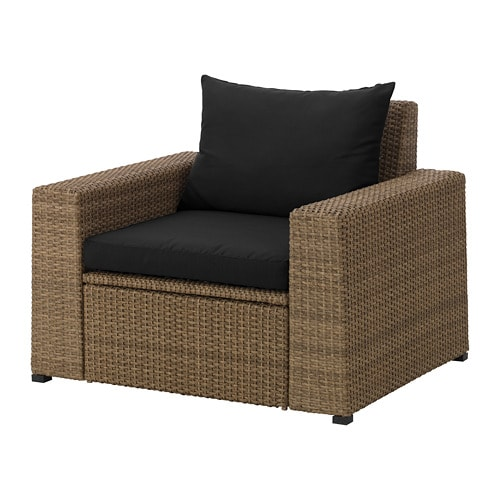 soller n armchair outdoor brown h ll black ikea. Black Bedroom Furniture Sets. Home Design Ideas