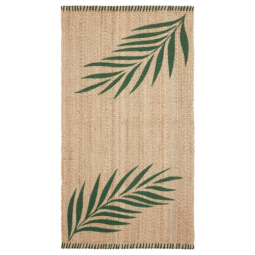 SOMMAR 2020 rug, flatwoven green leaves/natural 150 cm 80 cm 10 mm 1.20 m² 3000 g/m²