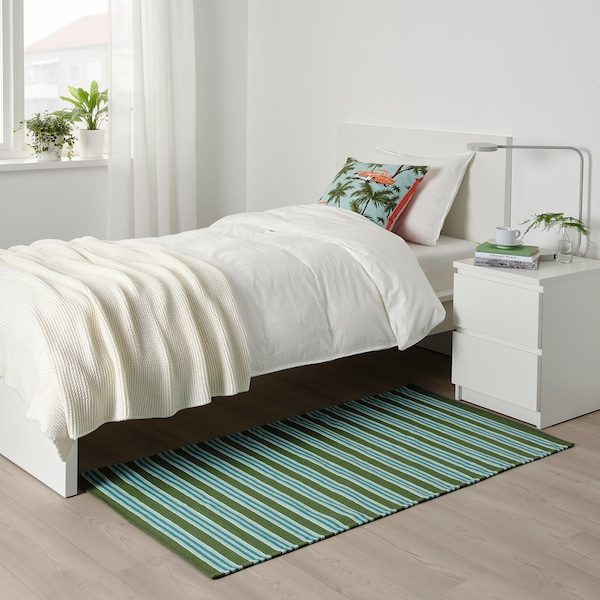 SOMMAR 2020 rug, flatwoven striped turquoise/green 150 cm 80 cm 1.20 m² 975 g/m²