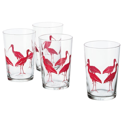 SOMMARLIV glass patterned/bird 12.5 cm 46 cl 4 pieces
