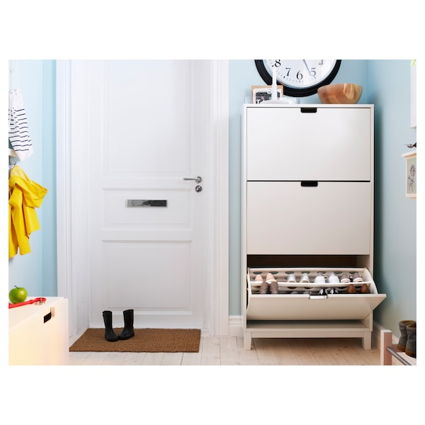 STÄLL Shoe cabinet with 3 compartments, white, 79x29x148 cm
