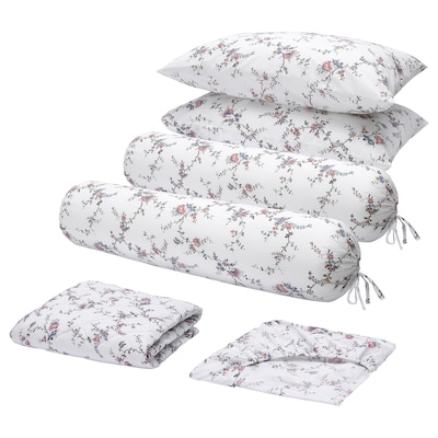 STENÖRT 6-piece bedlinen set, flower, Queen