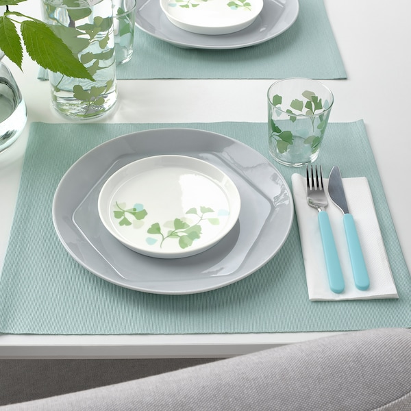 STILENLIG Side plate, leaf patterned white/green, 17 cm