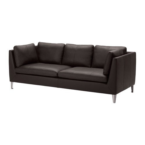 STOCKHOLM Three-seat sofa IKEA Highly durable full-grain leather which is soft and has a natural look and feel.