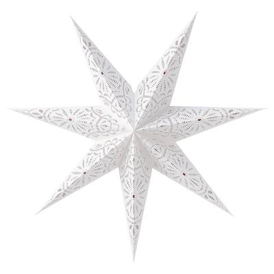 STRÅLA Lamp shade, printed/lace white, 70 cm