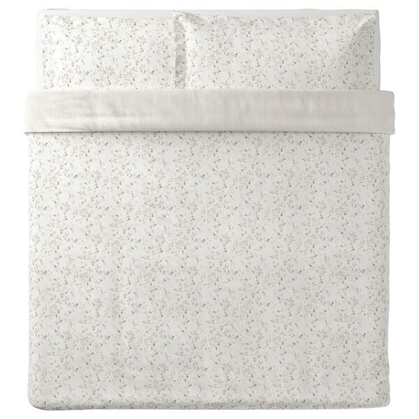 STRANDFRÄNE Quilt cover and 2 pillowcases, white/light beige, 240x220/50x80 cm