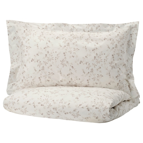 STRANDFRÄNE quilt cover and 2 pillowcases white/light beige 200 /inch² 2 pieces 220 cm 240 cm 50 cm 80 cm