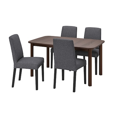STRANDTORP / BERGMUND Table and 4 chairs, brown/Gunnared medium grey, 150/205/260 cm