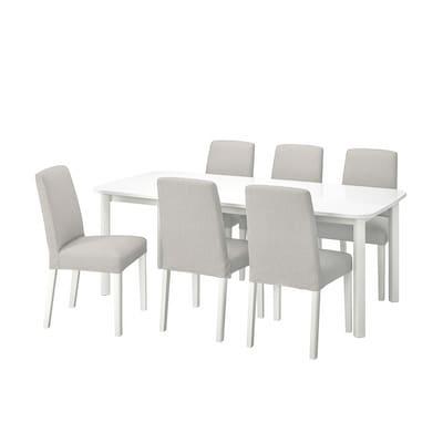 STRANDTORP / BERGMUND Table and 6 chairs, white/Orrsta light grey, 150/205/260 cm