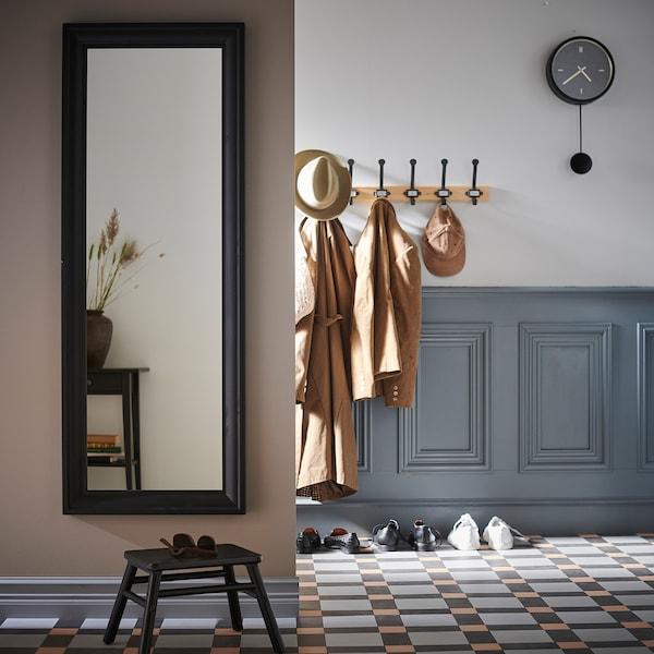 STURSK Wall clock, black, 26 cm