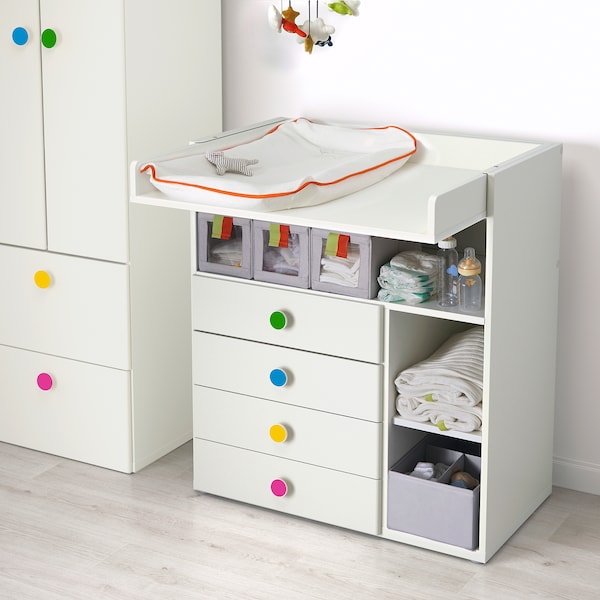 Changing Table With 4 Drawers White