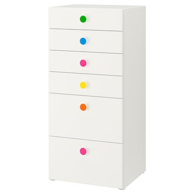 STUVA / FÖLJA Storage combination with drawers, white, 60x50x128 cm