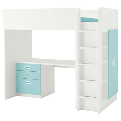 STUVA / FRITIDS Loft bed combo w 3 drawers/2 doors, white/light blue, 207x99x182 cm