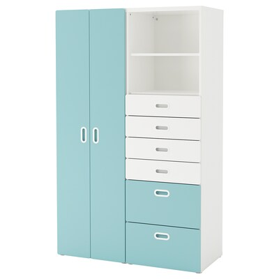 STUVA / FRITIDS Wardrobe, white/light blue, 120x50x192 cm