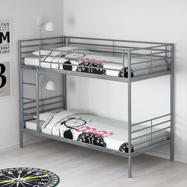 Svarta Bunk Bed Frame Silver Colour Ikea