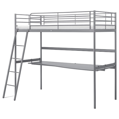 SVÄRTA loft bed frame with desk top silver-colour 208 cm 145 cm 97 cm 186 cm 200 cm 90 cm 21 cm