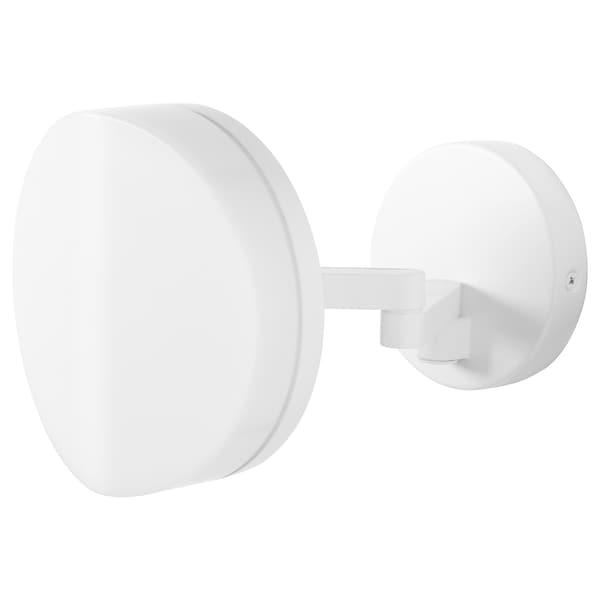 SVALLIS LED wall lamp with swing arm, white, 15 cm