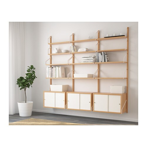 SVALNÄS Wall-mounted storage combination IKEA Hide or display your things by combining open and closed storage.