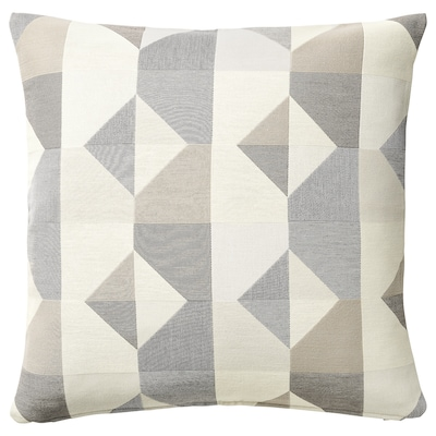 SVARTHÖ Cushion cover, grey/beige, 50x50 cm