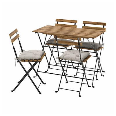 TÄRNÖ Table+4 chairs, outdoor, black/light brown stained/Kuddarna grey