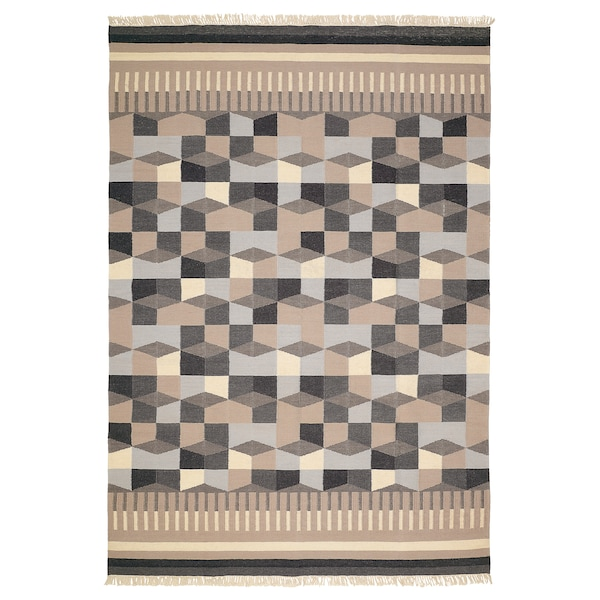 TÅRBÄK Rug, flatwoven, handmade/grey/beige, 170x240 cm