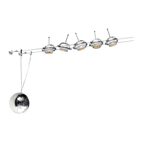 TERMOSFÄR Low-voltage wire system 5 spots IKEA Adjustable spotlight shade and  movable along wire.