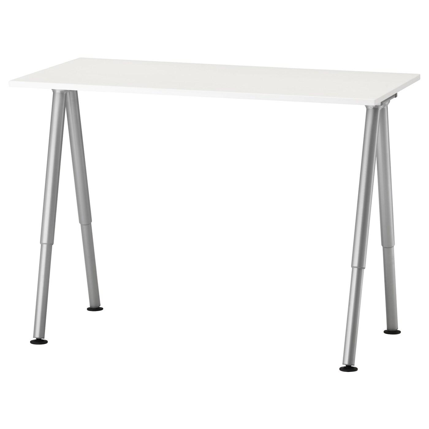 Thyge Desk White Silver Colour Ikea