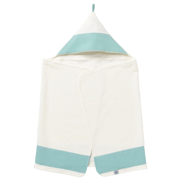 TILLGIVEN baby towel with hood white/turquoise 125 cm 60 cm
