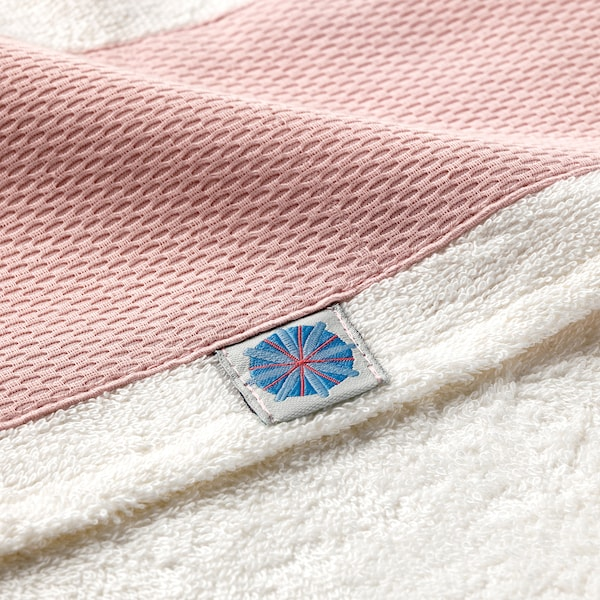TILLGIVEN baby towel with hood white/pink 125 cm 60 cm