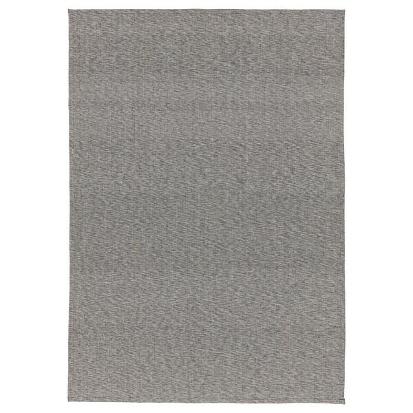 TIPHEDE Rug, flatwoven, black/natural, 155x220 cm