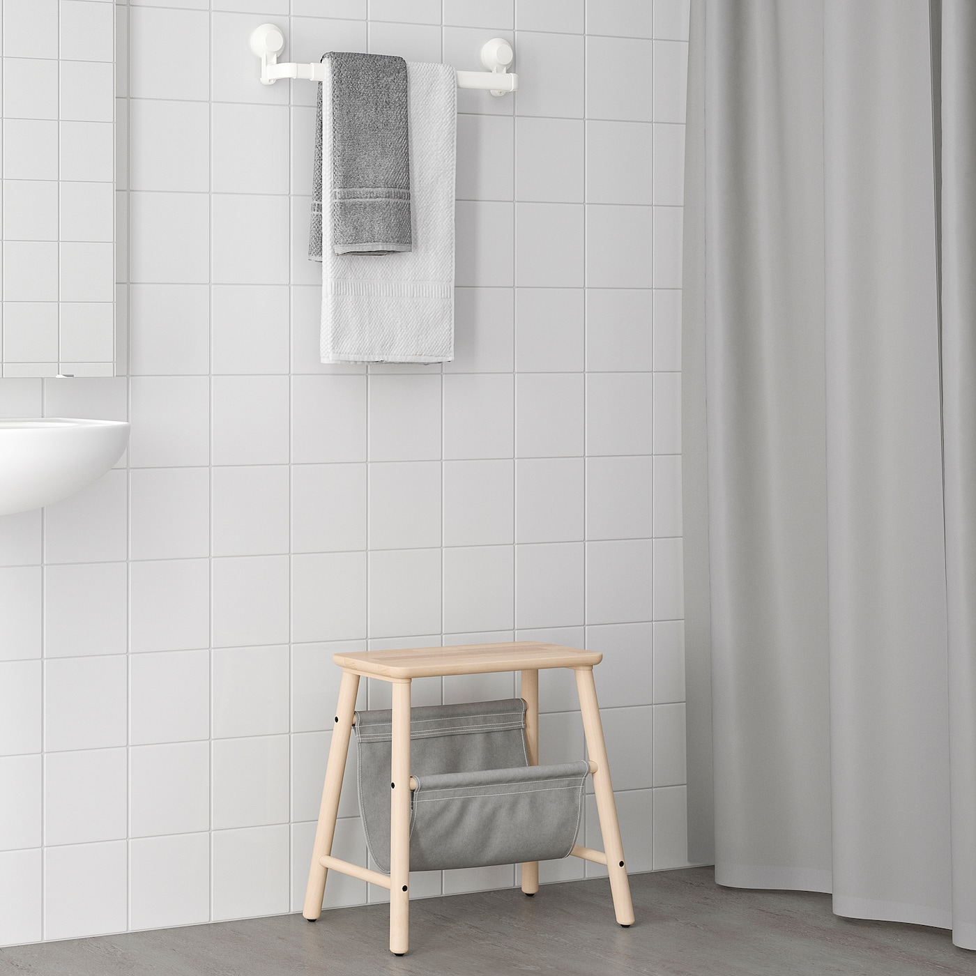 TISKEN Towel rack with suction cup, white