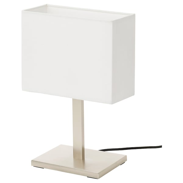TOMELILLA Table lamp, nickel-plated/white, 36 cm