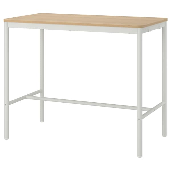 TOMMARYD Table, white stained oak veneer/white, 130x70x105 cm