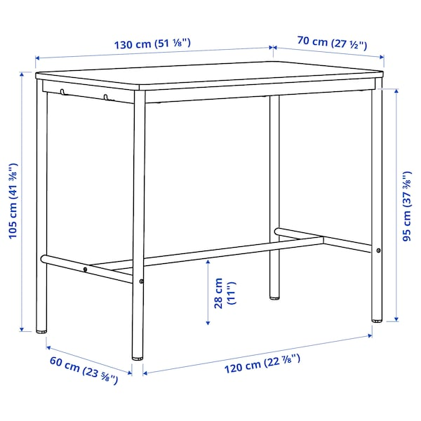 TOMMARYD Table, white, 130x70x105 cm