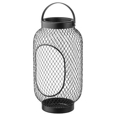 TOPPIG Lantern for block candle, black, 36 cm