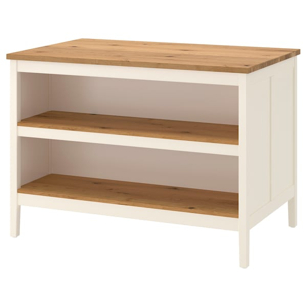 TORNVIKEN Kitchen island, off-white/oak, 126x77 cm