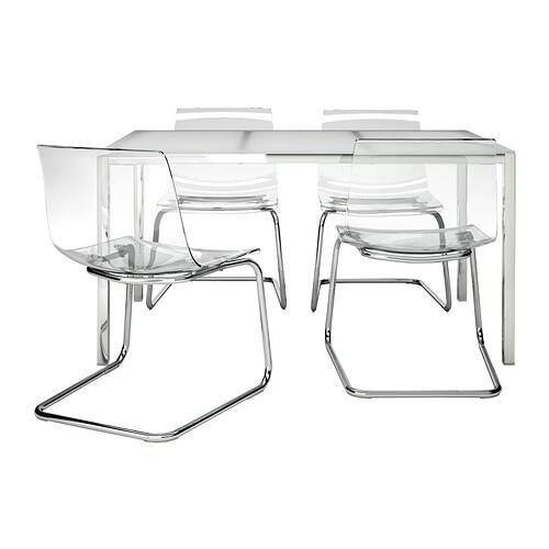 TORSBY / TOBIAS Table and 4 chairs IKEA The table top made of tempered glass is easy to clean and more durable than ordinary glass.