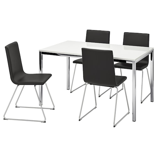 TORSBY / VOLFGANG table and 4 chairs high-gloss white/Bomstad black 135 cm 85 cm 73 cm