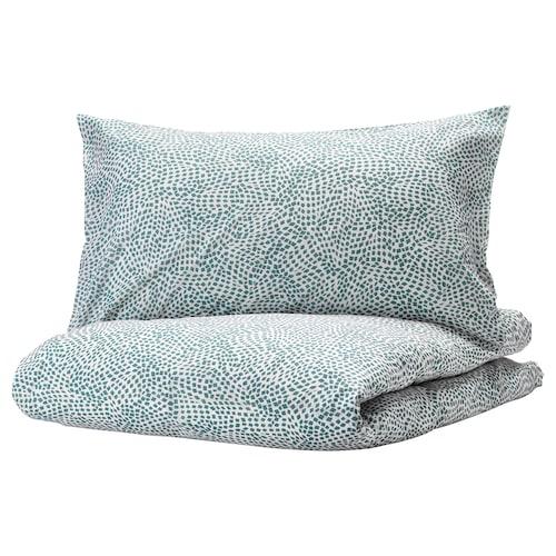 TRÄDKRASSULA quilt cover and 2 pillowcases white/blue 100 /inch² 2 pieces 220 cm 240 cm 50 cm 80 cm