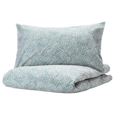 TRÄDKRASSULA Quilt cover and pillowcase, white/blue, 150x200/50x80 cm