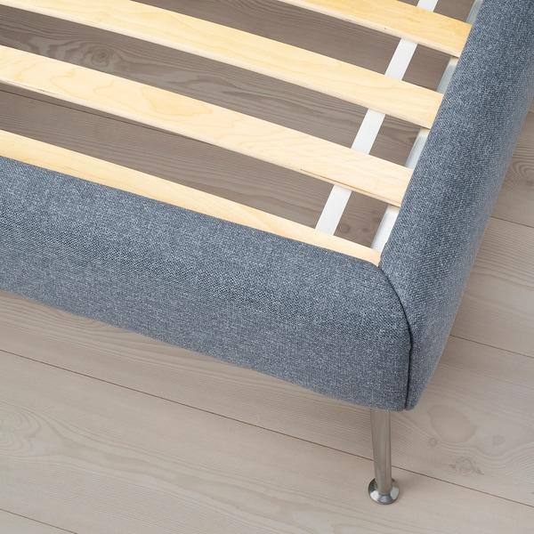 TUFJORD Upholstered bed frame, Gunnared blue, 150x200 cm