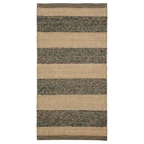 UGILT rug, flatwoven black/beige 150 cm 80 cm 7 mm 1.20 m² 2000 g/m²