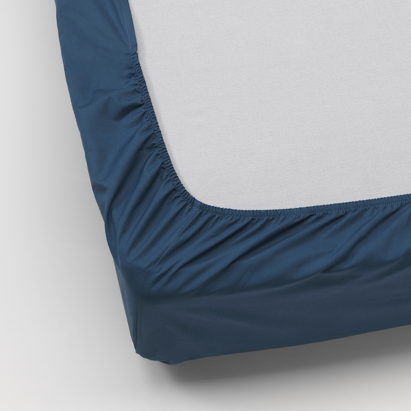 ULLVIDE fitted sheet dark blue 200 /inch² 200 cm 90 cm