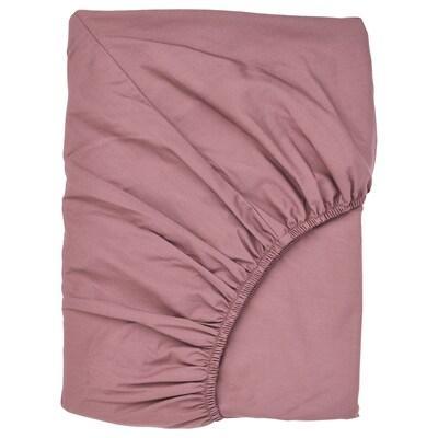 ULLVIDE Fitted sheet, dark pink, 140x200 cm