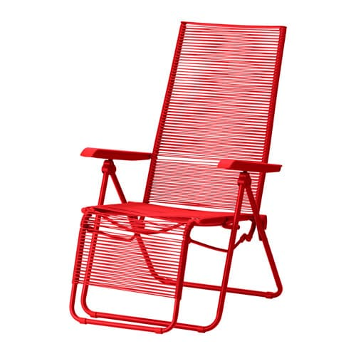 V sman deck chair outdoor red ikea - Chaise aluminium exterieur ...