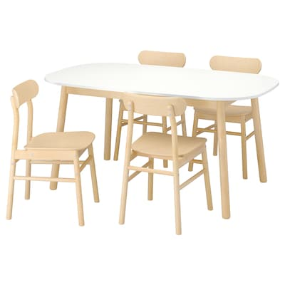 VEDBO / RÖNNINGE Table and 4 chairs, white/birch, 160x95 cm