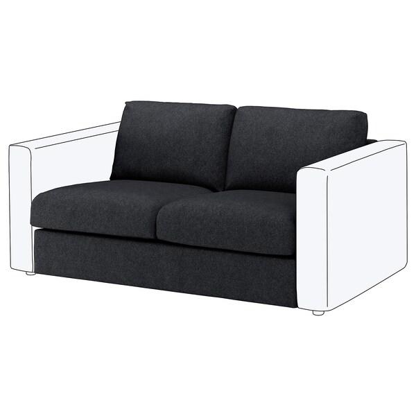 VIMLE 2-seat section Tallmyra black/grey 80 cm 66 cm 141 cm 98 cm 4 cm 141 cm 55 cm 45 cm