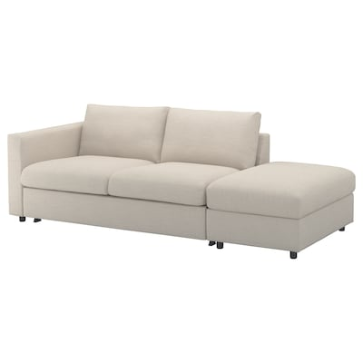 VIMLE 3-seat sofa-bed, with open end/Gunnared beige